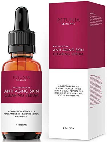 Professional Anti-Aging Skin Clearing Serum | Active 2.5% Retinol, Vitamin C 20%, MSM, Salicylic Acid | Acne Treatment And Collagen Booster For Fine Lines, Wrinkles, Dark Spots, Acne | 1 fl. oz.