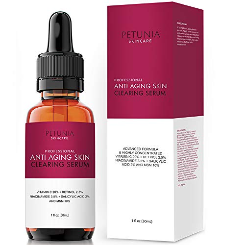 Anti Wrinkle Booster - Professional Anti-Aging Skin Clearing Serum | Active 2.5% Retinol, Vitamin C 20%, MSM, Salicylic Acid | Acne Treatment And Collagen Booster For Fine Lines, Wrinkles, Dark Spots, Acne | 1 fl. oz.