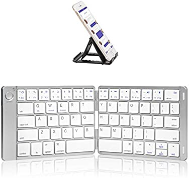 Built-in Rechargeable Li-polymer Battery For IOS//Android//Windows Aluminum Allo Ergonomic Design Ultra Slim Portable Wireless Keyboard With Pocket-size Portable keyboard Foldable Bluetooth Keyboard