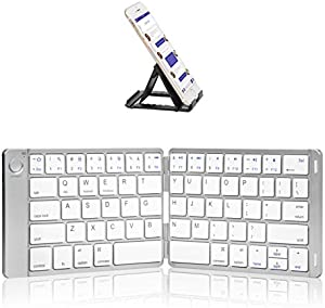 Foldable Bluetooth Keyboard - Sounwill Wireless Portable Keyboard with Stand Holder, Pocket Size Ultra Slim Leather Folding Keyboard Compatible iOS Windows Android Smartphone Tablet Laptop, Silver