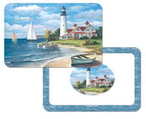 (4 Lighthouse Mural Reversible Washable Plastic Nautical Theme Placemats)
