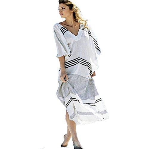 ver up Swimsuit Beachwear Long Dress Tassel Swimwear Bikini Dress (Black+White) (Dress Bikini Cover Up)