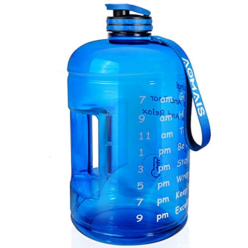 AOMAIS Gallon Water Bottle with Motivational Time Marker, Large 128 oz, Leak-Proof, Wide Mouth, BPA Free Water Bottles for Sports Gym Fitness Work(Gallon, Blue) (Water Gallon Container)