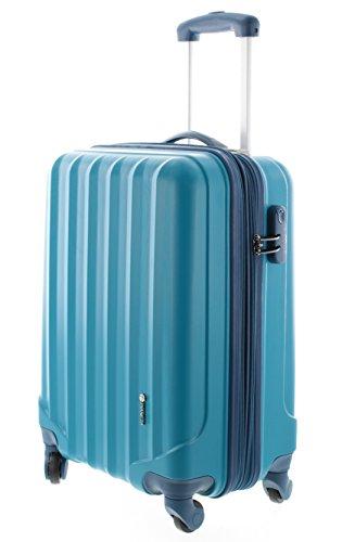 100% ABS Hartschalen Koffer / Trolley mit 4 Rollen und Zahlenschloss 3 Farben, Pianeta Serie Ibiza (M (55cm), Blau)