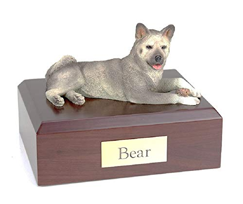 Pet Cremation Urn - Akita Gray, Lying Figurine On Traditional, Medium-Sized, Oak Wood Urn. (Listing Is For Oak Wood - See Color Swatch - Not Walnut Wood As Pictured).