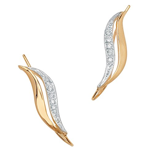 Burnish-Set White Diamond Accent 10k Yellow Gold Ear Pins
