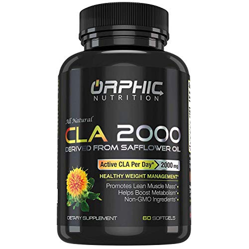 95% Potency | 2000mg CLA Organic Capsules | 100% Pure Safflower Oil | Highest Potency, Non-Stimulant Supplement | Lose Weight, Burn Fat, Boost Metabolism & Build Lean Muscle | Men & Women | Pack of 60