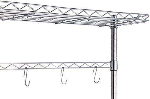 "41hULFKe6OL. AC Amazon Basics Kitchen Storage Baker's Rack with Wood Table, Chrome/Wood - 63.4"" Height    An Amazon Brand"