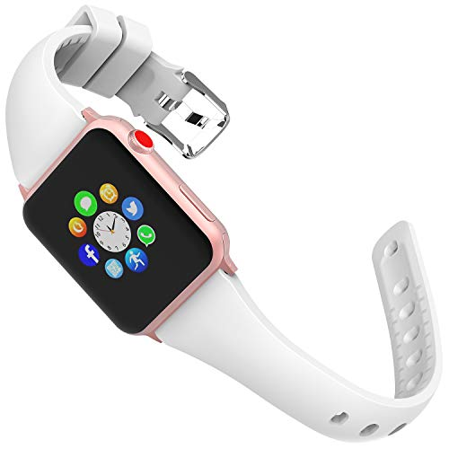 Lwsengme Wristband Compatible with Apple Watch Series 4&3&2&1, Choose Color-Soft Rubber & Width(38mm/40mm,42mm/44mm) Fashion Slim Replacement Wristbands Compatible with iWatch Series 4/3/2/1