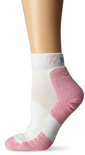 Thorlos Unisex EWH Walking Thick Padded Ankle Sock, White/Pink, Small