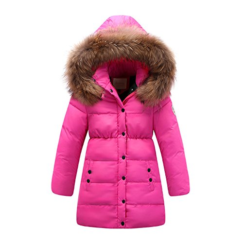 Price comparison product image 2017 Big Girls' Winter Parka Down Coat Puffer Jacket Padded Overcoat with Fur Hood (T7-8, Rose)