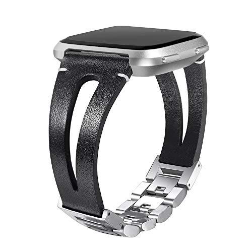 bayite Leather Bands Compatible Fitbit Versa, Handmade Replacement Bracelet Straps Women Men, Black