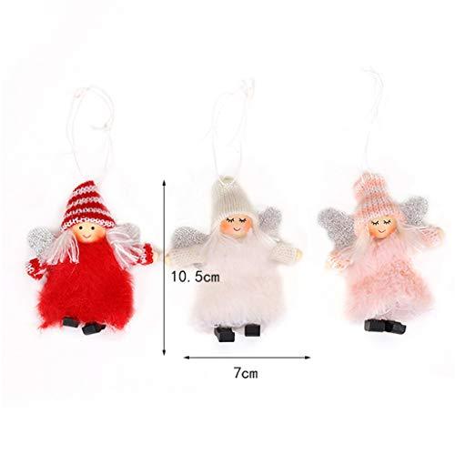 Fan-Ling Plush Angel Creative Cartoon Wings Pendant,Creative Christmas Tree Decoration,Pompoms Pendant Holder,Bag Pendant Car Accessory,Cute Decor Ornaments,10.5x9CM (red) (Vines Curtain Garden Gray)