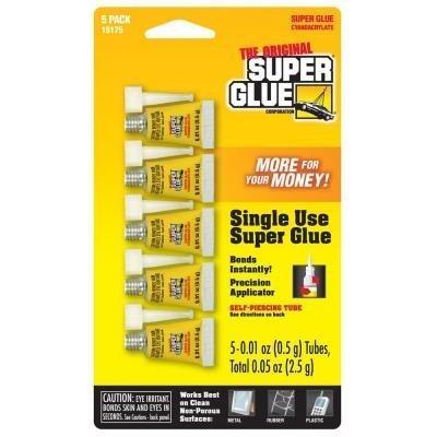 1 Pack of 5 Single Use Super Glue Precision Super Single