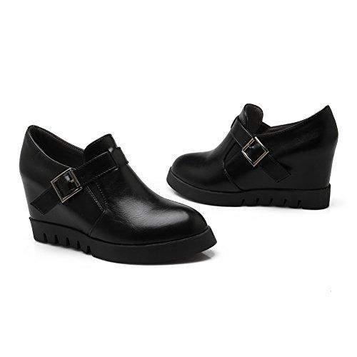 Elastic Women's With Black Buckle Ankle Heel Pointed goring Bootie Wedge Toe fereshte Hidden Boots Fashion Platform OwZ7FOxqd