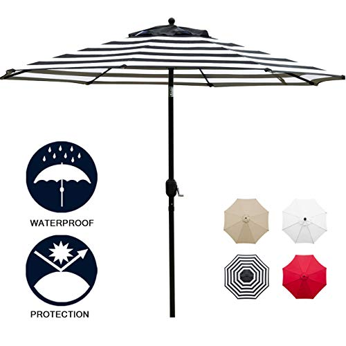 Sunnyglade 11Ft Patio Umbrella Garden Canopy Outdoor Table Market Umbrella with Tilt and Crank (Black and White) (Black Canopy & White)