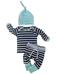Newborn Baby Boys Girls Clothes Long Sleeve Tops Pants Trousers Hat Outfits Set