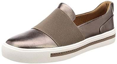 Clarks UN Maui Step Women's Sneakers, Pebble Metallic Leather D, 3 AU