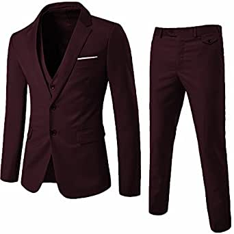WEEN CHARM Men's Two Button Notch Lapel Slim Fit 3-Piece Suit Blazer Jacket Tux Vest & Trousers Set (XS, Dark Red)