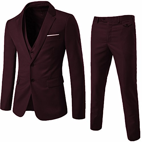 YIMANIE Men's Suit 3 Piece Single Breasted Jacket Two Button Slim Fit Blazer Tux Vest&Trousers (M, Dark Red) (Notch Lapel Vest)