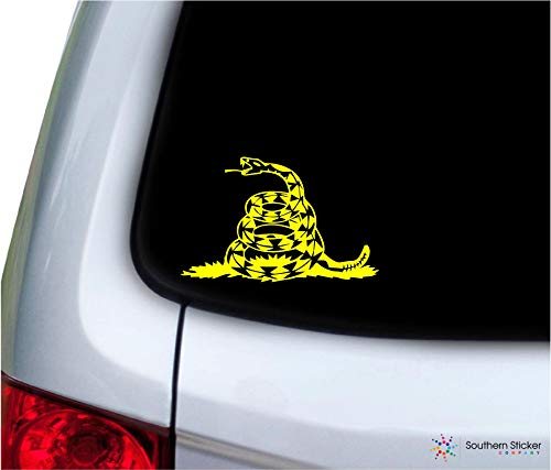 Southern Sticker Company Don't Tread on me Snake 5.4x3.4 inches Size Gadsden Flag Marines Vinyl Laptop car Window Truck - Made and Shipped in USA (Yellow)