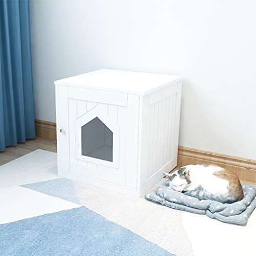 Decorative Cat House Side Table Pet Nightstand Crate Cat Litter Box Enclosures by Clothful