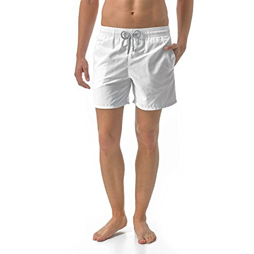 (VILEBREQUIN Men's Moorea Solid Swim Trunk, White, Large )