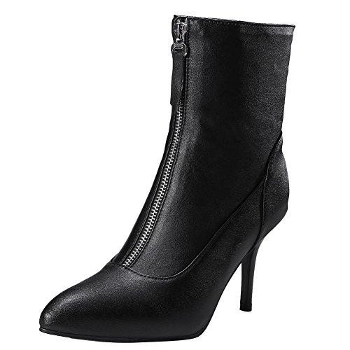 Carolbar Women's Chic Charm High Heel Zippers Short Chelsea Boots Black