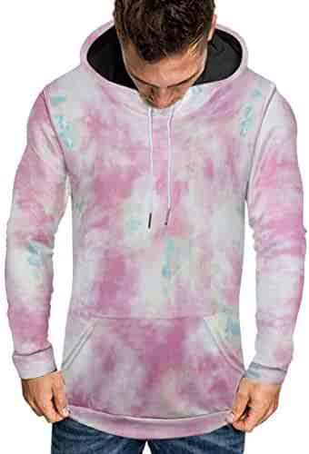 Sweatshirts for Men Hoodie Pullover Casual Plus Size 3D Tie-dye Print Hooded Sweatshirts with Pockets
