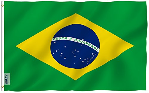 Anley Fly Breeze 3x5 Foot Brazil Flag - Vivid Color and UV Fade Resistant - Canvas Header and Double Stitched - Brazilian National Flags Polyester with Brass Grommets 3 X 5 Ft