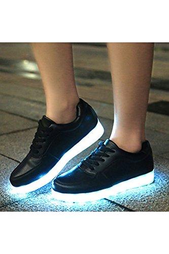 Azbro Mujer Zapatillas Deportivas Planos con Luz LED Recargable Cordón-Arriba Blanco