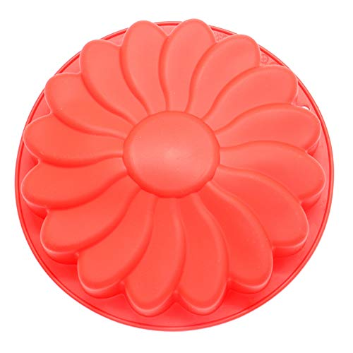 AQUEENLY Silicone Cake Pan 9 Inches Flower Jello Mold Non-stick Baking Trays for Chocolate Soap Candy Jelly, Red