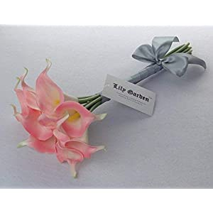 """Lily Garden Mini 15"""" Artificial Calla Lily 10 Stem Flower Bouquets (Pink with Ribbon) 2"""