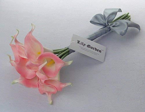 Lily-Garden-Mini-15-Artificial-Calla-Lily-10-Stem-Flower-Bouquets-Pink-with-Ribbon