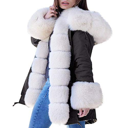 Women's Jacket Youngh Plus Size Camouflage Loose Faux Fur Casual Hooded Winter Coat Cardigan Overcoat ()