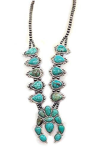 (JChronicles Natural Turquoise Stone Squash Blossom Navajo Western Statement Necklace -)
