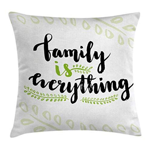 Ambesonne Family Throw Pillow Cushion Cover, Cute Lettering Family is Everything Motivaonal Phrase Branches Leaves, Decorative Square Accent Pillow Case, 18 X 18 Inches, Apple Green Black White by Ambesonne