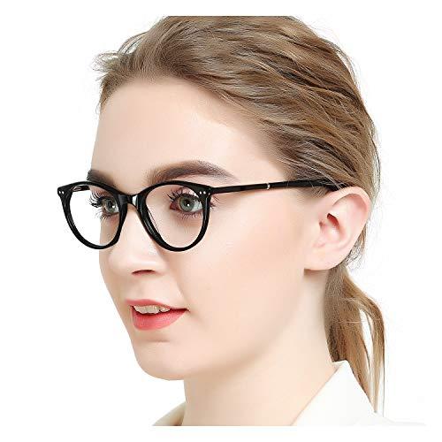 hion Metal Temple Horn Rimmed Clear Lens Eye Glasses (Black) for Women ()