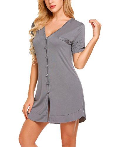 Avidlove V Neck Sexy Sleepwear Shirts Short Sleeve Pajama Dress Button-Front Nightshirt(Dark Gray,S) ()