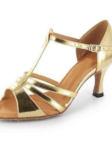 ShangYi Chaussures de danse(Noir / Rouge / Argent / Or) -Personnalisables-Talon Personnalisé-Similicuir-Latine Red