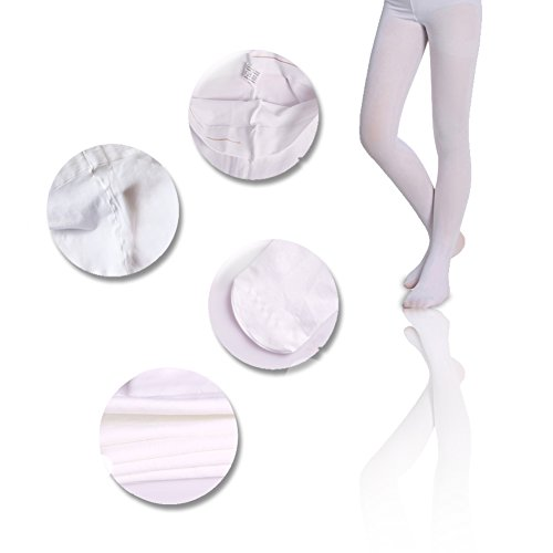 Price comparison product image Comfortable and cut with Girls tights,Dance stockings breathable stretch cotton Body wrappers 3 Pairs Pack Age(2-16) White SK ANGEL