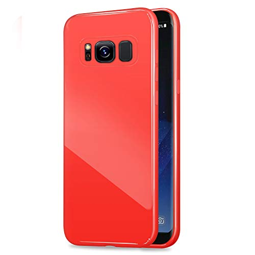 Galaxy S8 Plus Jelly Case, ANLEY Candy Fusion Series - [Shock Absorption] Classic Jelly Silicone Case Soft Cover for Samsung Galaxy S8 Plus (Ruby Red) + Free Ultra Clear Screen Protector