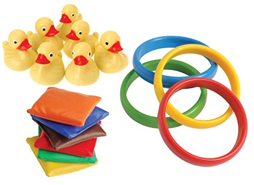 30 Piece Carnival Games Set- Duck Pond Floaters, Rings, and Bean Bags -