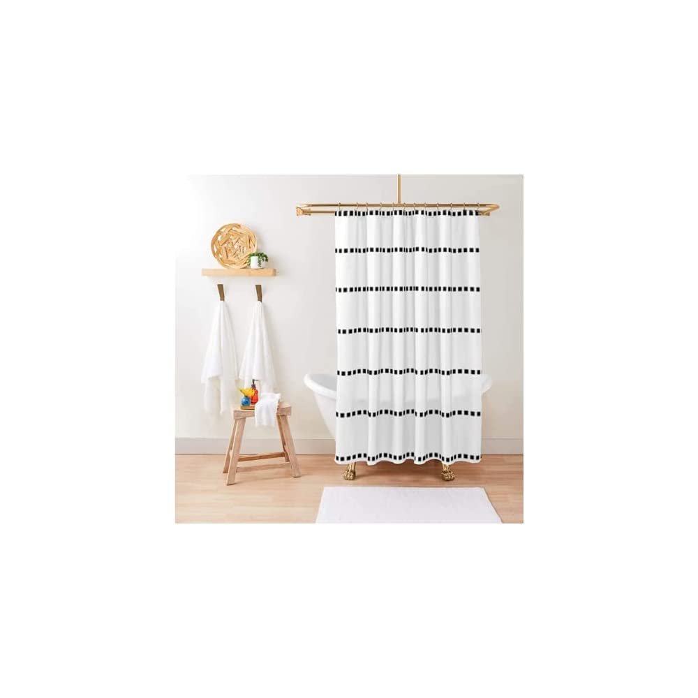 Boho Shower Curtain / Black and White Shower Curtain / Boho Shower Curtain Standard Size 72x72 / Hooks Included with…