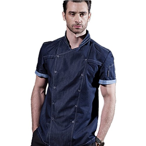 XINFU Unisex Cook Coat Cowboy Decoration Restaurant Kitchen Chef Uniform Chef Coat Short Sleeves by XINFU