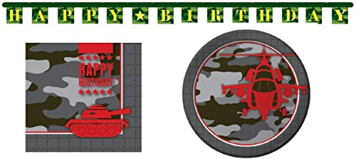 Camoflauge Birthday Party Supplies Operation Camo Bundle Serve 16: Large Plates, Luncheon Napkins, and Jointed Banner -