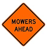 48''x48'' Mowers Ahead Reflective Roll-Up Sign w/Rib Sign Support Kit
