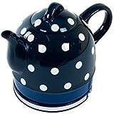 Keramik Edelstahl Wasserkocher Nostalgie 1 Liter (dunkelblau)