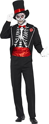 Smiffy's Men's Day of the Dead Costume, Jacket, Mock Shirt Front, Hat and Gloves, Day of the Dead, Halloween, Size L, 24565