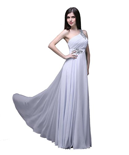Kmformals Damen eine Schulter lange prom Kleider Weiß PZOVxB ...